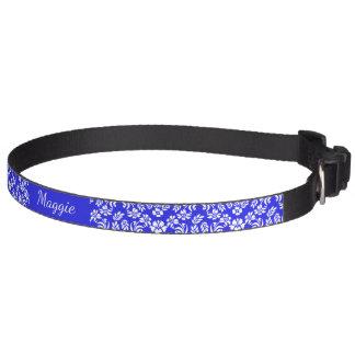 Cuello floral azul y blanco del mascota del collar para mascotas