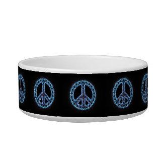 Cuenco azul del mascota de la paz comedero para mascota