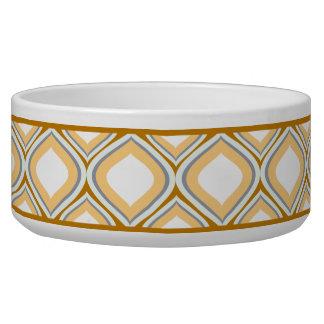Cuenco de cerámica del perro de Brown Ogee del