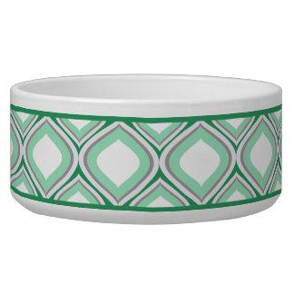 Cuenco de cerámica verde del perro de Seafoam Ogee