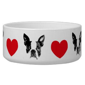 Cuenco de perro Boston Terrier con corazón