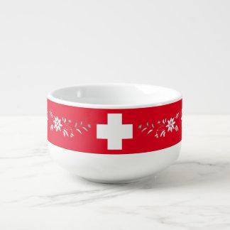 Cuenco De Sopa Bandera y edelweiss suizos