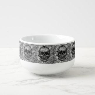 Cuenco De Sopa Cráneo de cristal del mosaico, blanco negro