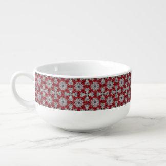Cuenco De Sopa Flores y cruces grises en rojo texturizado