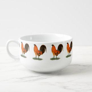 Cuenco De Sopa Gallo del rojo del jengibre del gallo de pelea