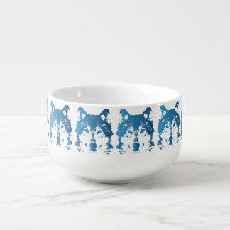 Cuenco De Sopa Lobo de los azules claros del ilustracion