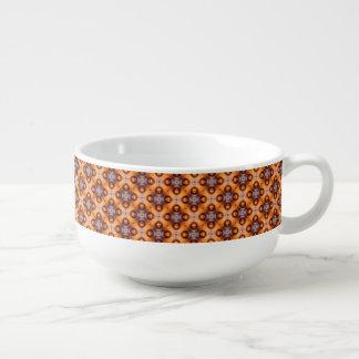 Cuenco De Sopa Modelo de mosaico retro de la pendiente anaranjada