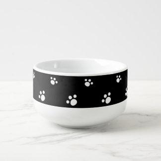 Cuenco De Sopa Modelo lindo blanco y negro de la impresión de la