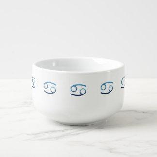 Cuenco De Sopa Muestras azules del zodiaco del cáncer en blanco
