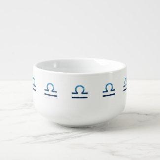 Cuenco De Sopa Muestras azules del zodiaco del libra en blanco