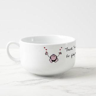 Cuenco De Sopa Rezo de la comida de los niños rosados de Emoji