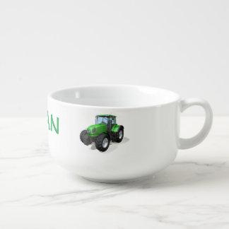 Cuenco De Sopa Tractores de granja verdes personalizados