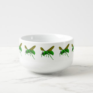 Cuenco De Sopa Verde del dibujo animado y abeja de la avispa del