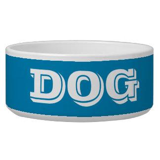 Cuenco del perro por el azul de acero grande de