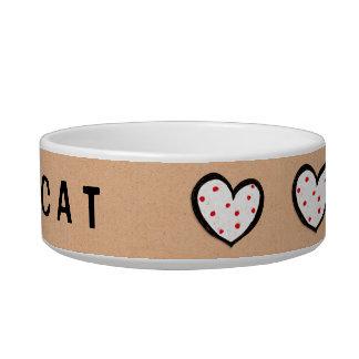 Cuenco manchado del gato de Kraft de los corazones Tazón Para Agua Para Gatos