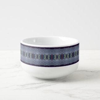 cuenco para sopa gris de la raya azul
