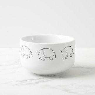 cuenco para sopa lindo del hipopótamo