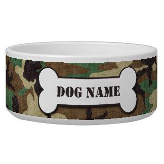 Cuenco personalizado del perro del camuflaje del