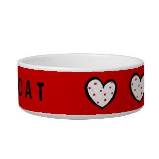 Cuenco rojo del gato de los corazones manchados tazon para gato