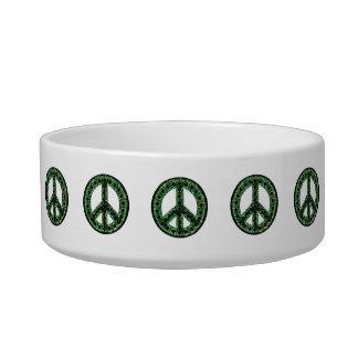 Cuenco verde del mascota de la paz comedero para mascota