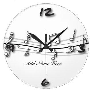 Cuenta blanco y negro gris de las notas musicales reloj redondo grande