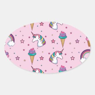 Cuento de hadas del unicornio del helado de la pegatina ovalada