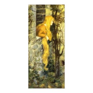 Cuento de hadas del vintage, Rapunzel con el pelo Invitación 10,1 X 23,5 Cm