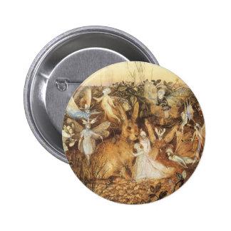 Cuentos de hadas del vintage, conejo entre las chapa redonda 5 cm