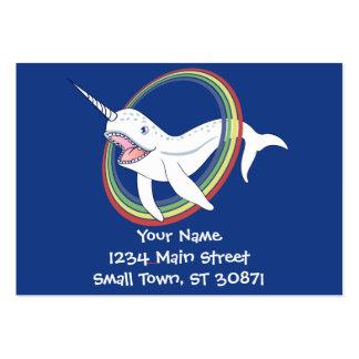 Cuerno lindo Narwhal con el dibujo animado del Tarjetas De Visita Grandes