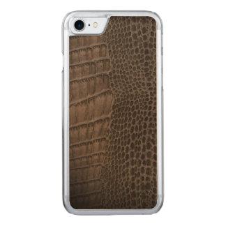 Cuero clásico del reptil del cocodrilo (falso) funda para iPhone 7 de carved