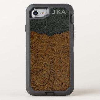 Cuero equipado Brown rústico (falso) Funda OtterBox Defender Para iPhone 8/7