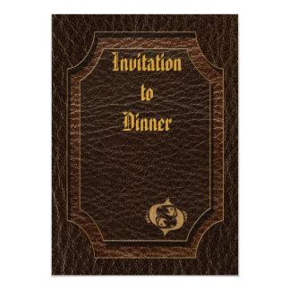 Cuero-Mirada Piscis Invitación 12,7 X 17,8 Cm