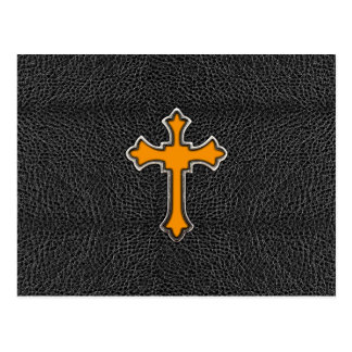 Cuero negro cruzado anaranjado de neón ImagePrint Postal