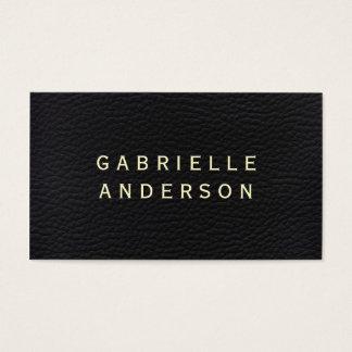 Cuero negro elegante profesional con el texto tarjeta de visita