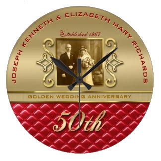 Cuero rojo acolchado oro de oro del aniversario reloj redondo grande