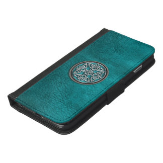 Cuero verde azulado y caja céltica de la cartera