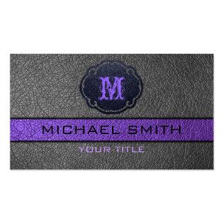 Cuero violeta y negro tarjetas de visita