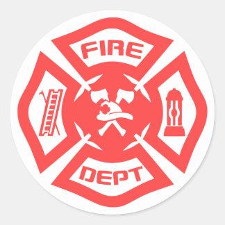 Cuerpo de bomberos pegatina redonda