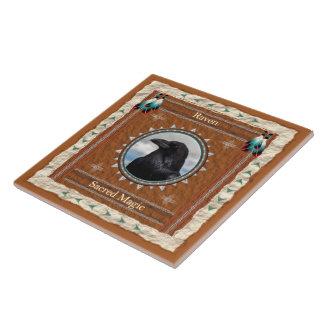 Cuervo - baldosa cerámica mágica sagrada