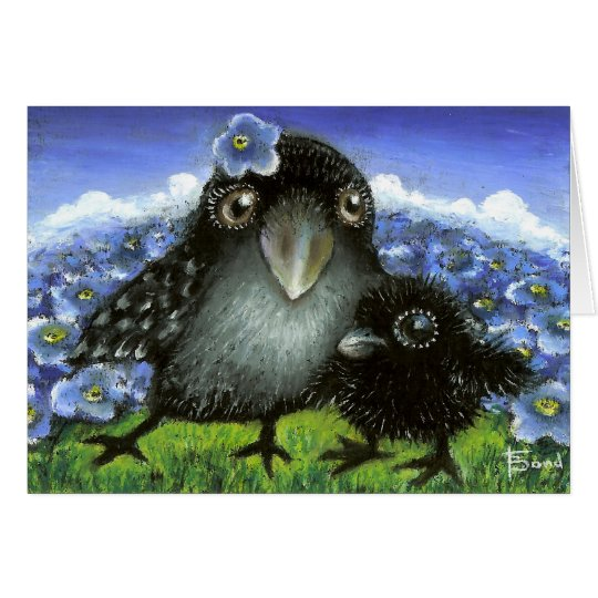 Cuervo de la madre y del bebé tarjeta de felicitación