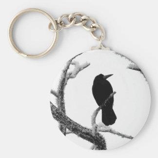 Cuervo Edgar Allan Poe del invierno de B&W Llaveros Personalizados