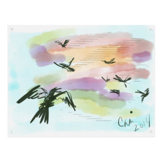 Cuervo en colores pastel postal