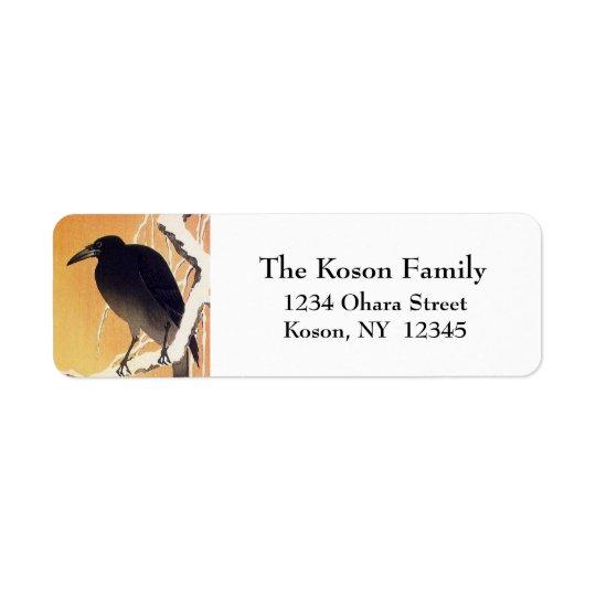 Cuervo en una rama por el vintage de Ohara Koson Etiqueta De Remitente