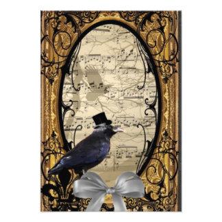 Cuervo gótico del boda del vintage divertido comunicado