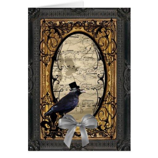 Cuervo gótico del boda del vintage divertido felicitación