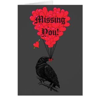 Cuervo gótico romántico que le falta tarjeta pequeña