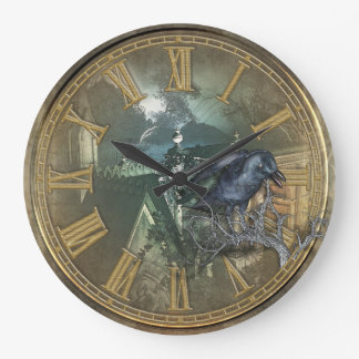 Cuervo negro gótico reloj redondo grande