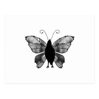 Cuervo negro y blanco de la mariposa postal