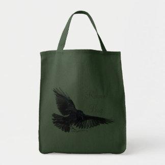 Cuervo que vuela bolsa de mano