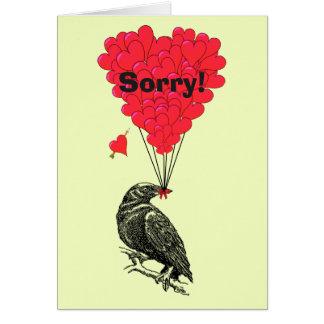 Cuervo romántico y corazón de la diversión tristes tarjeta pequeña